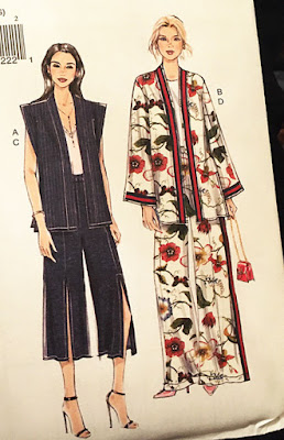 A sewing pattern showing two women in baggy tops and trousers