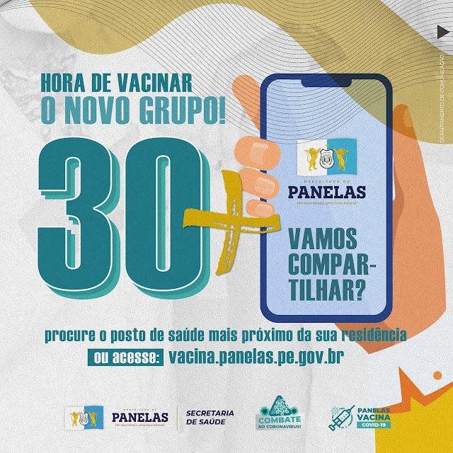 HORA DE VACINAR O NOVO GRUPO DE 30 ANOS OU MAIS!