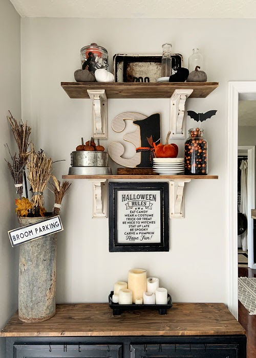 Halloween Home Decor - dining room shelves - vintage style
