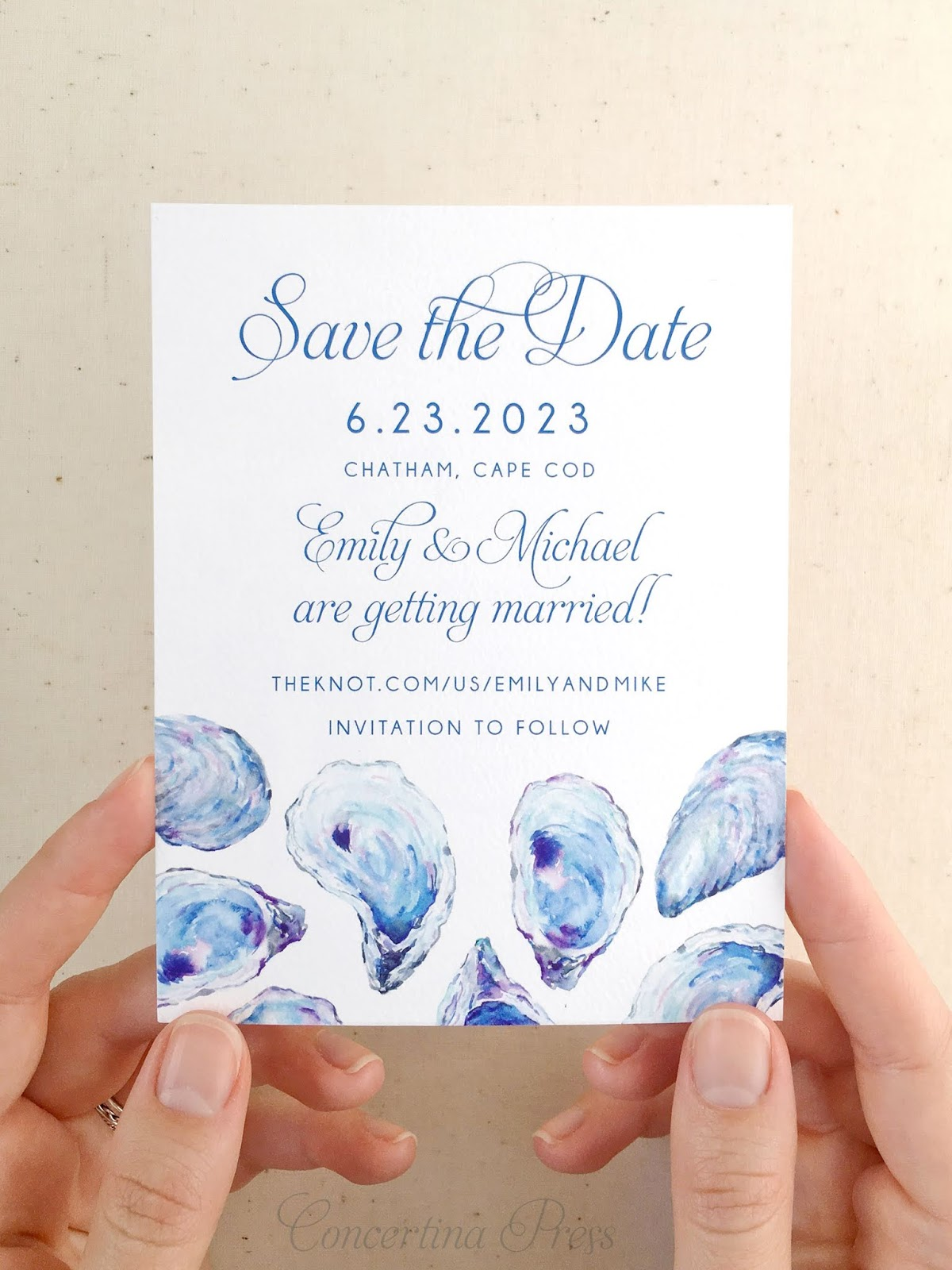 Oyster Save the Dates for a Chatham Bars Inn Wedding from Concertina Press