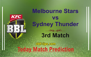 Star vs Thunder 3rd Match Who will win Today BBL T20? Cricfrog