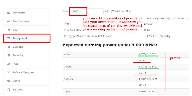 Calculate profits in Hashocean
