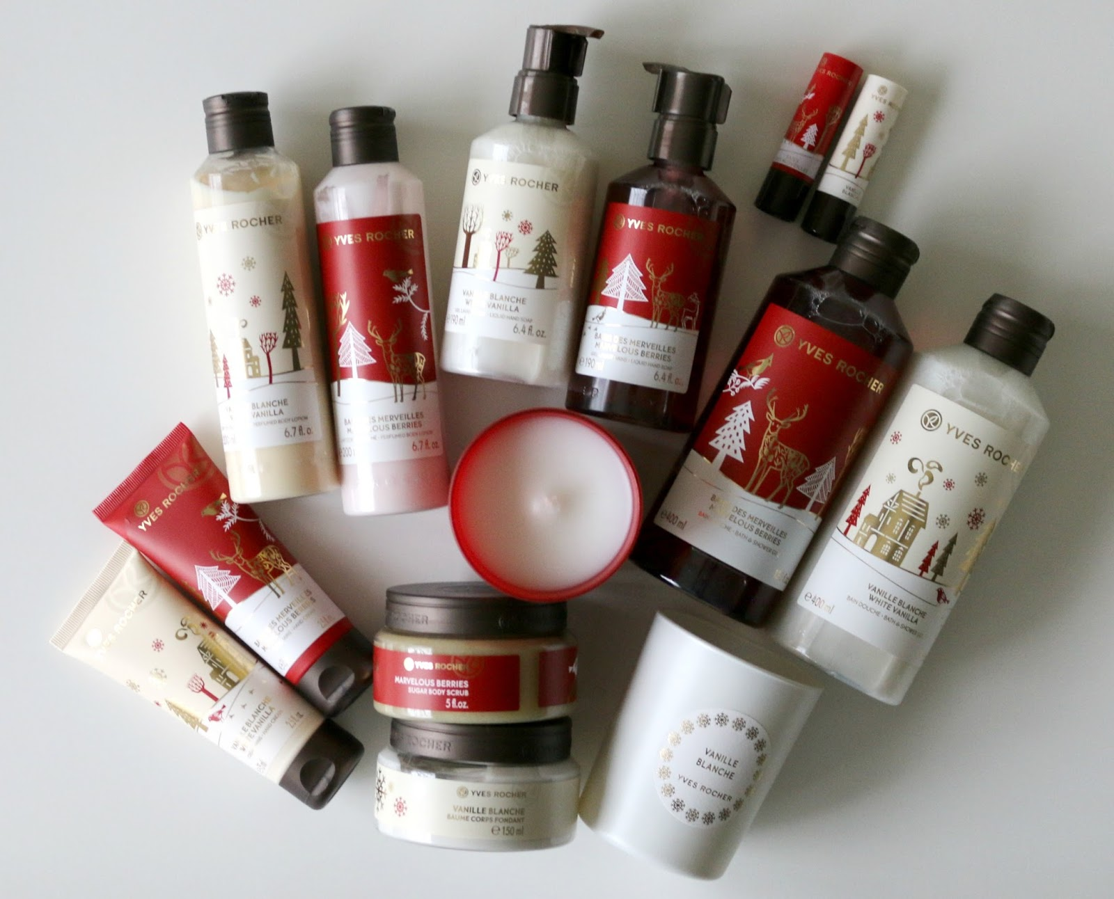 Yves Rocher White Vanilla Marvelous Berries Bath & Body Christmas Collection