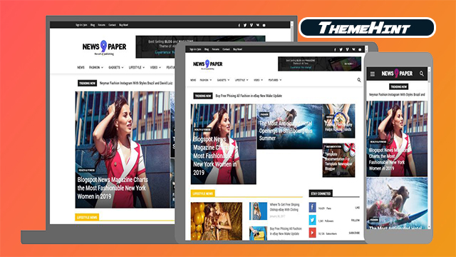 Newspaper 9 Premium Blogger Template Free Download by ThemeHint