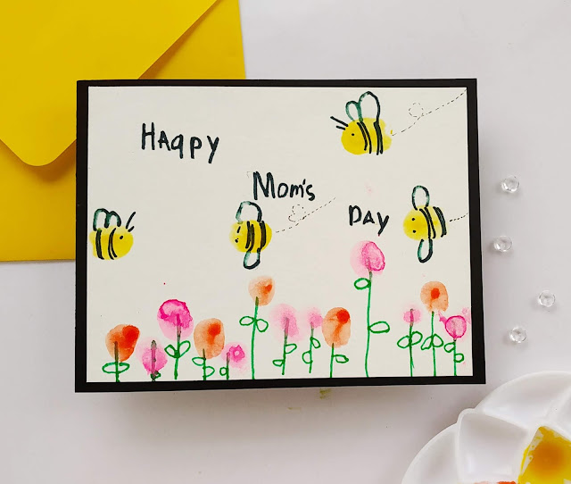finger painting for toddlers, finger painting card for kids, bee crafts