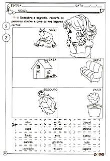 Atividade ortografia alfabetização s e z