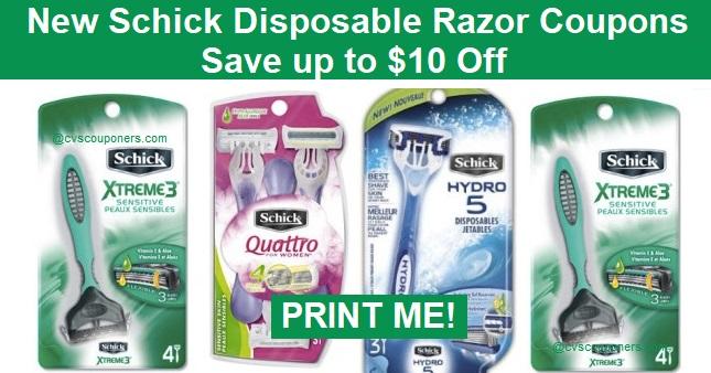 Schick Disposable razor coupons