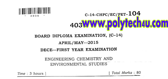 ECE CHEMISTRY QUESTION PAPER C-14 APRIL-MAY-2015