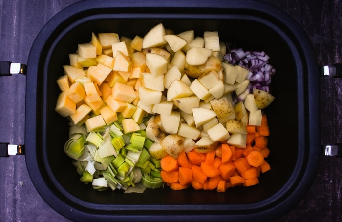 Scottish Slow Cooker Vegetable Soup ingredients in a slow cooker
