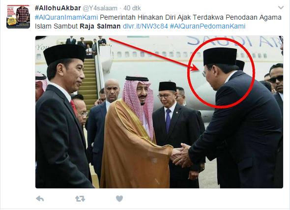 Pemerintah hinakan diri karena ajak Ahok menyambut Raja Salman