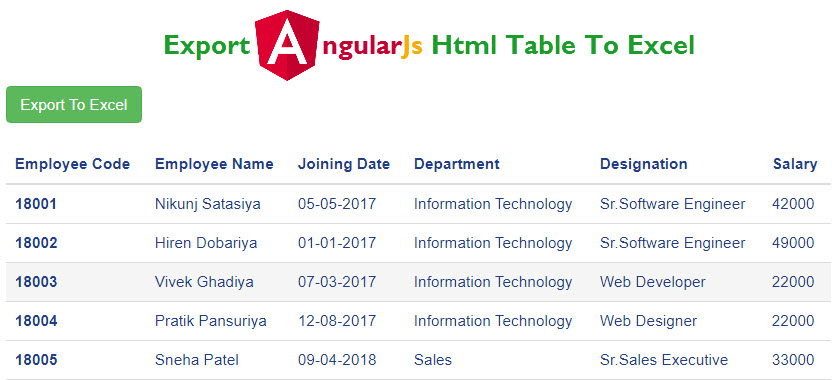 Export AngularJs Table in Excel using JQuery in ASP.NET Web Forms