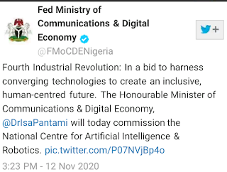 Tweet FG sets up Centre for Artificial Intelligence And Robotics