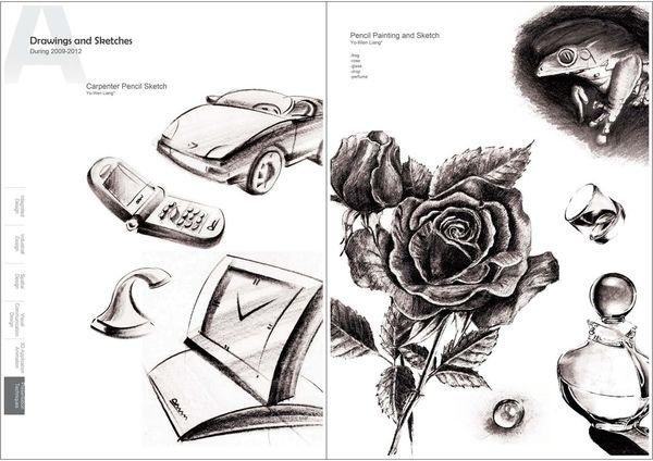 設計作品集設計 表現技法,梁又文老師設計,設計素描,扁筆