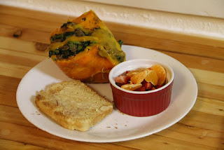 Stuffed kabocha squash, with toast and fruit salad