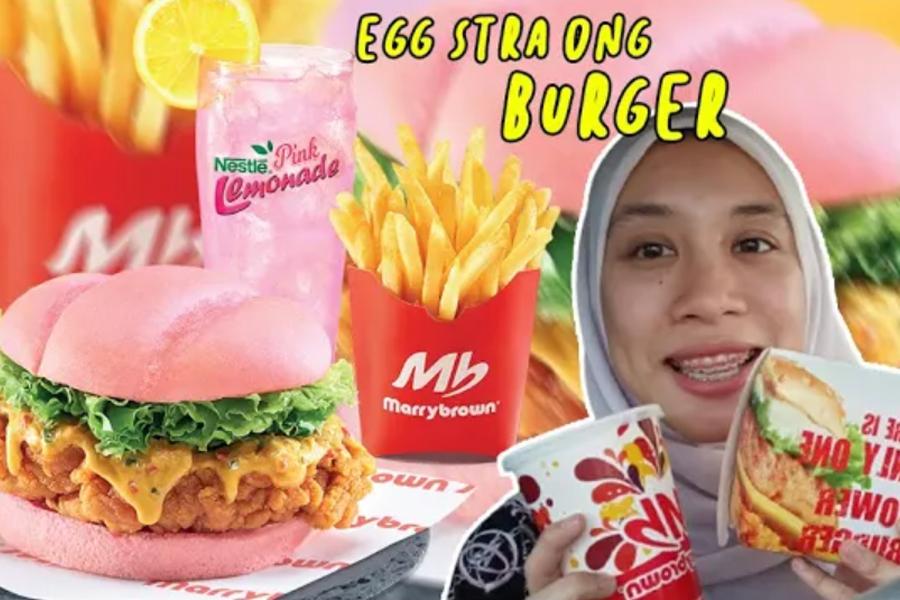 marrybrown, burger pink marrybrown, food review, burger terbaru marrybrown, Marrybrown Egg-Stra Ong Burger