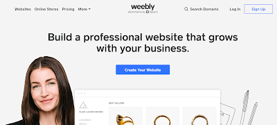 weebly homepage with a girl on the white background