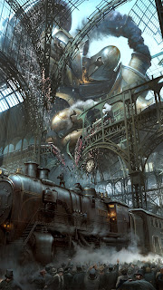 Steampunk Train Station Titan Mobile HD Wallpaper