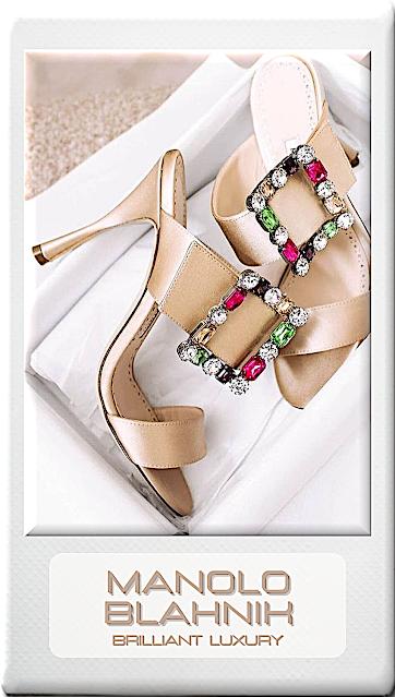♦Manolo Blahnik Verda colorful bejeweled satin mules #manoloblahnik #shoes #brilliantluxury