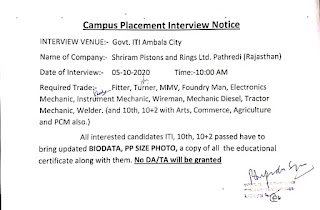 ITI, 10th, 10+2 Passed Job Campus Placement Interview in Ambala City For Shriram Pistons and Rings Ltd. Pathredi, Rajasthan