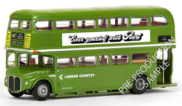 Exclusive First Editions: 31911 - RML Routemaster - London Country N.B.C. Registration number JJD 411D, fleet number RML 2411. Works route 407 to Langley Village, the Harrow. Scheduled for a June release RRP £34.50