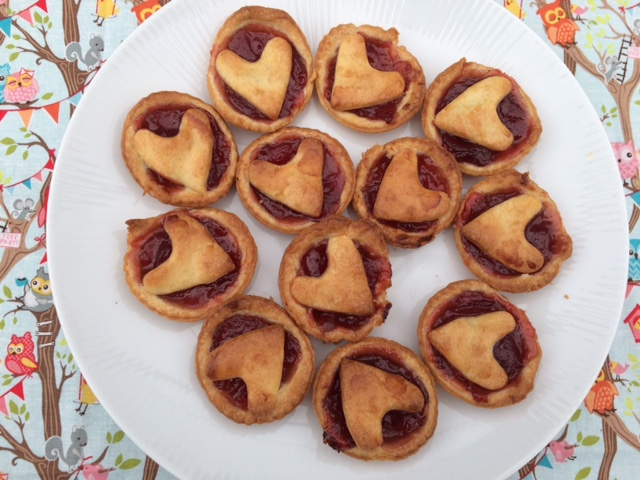 Baked heart tarts on a plate