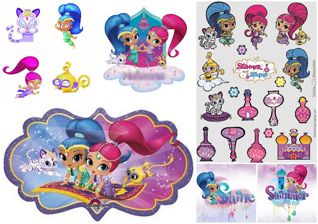 Shimmer and Shine Party Free Download Images for Stickers, Toppers and Decorations.