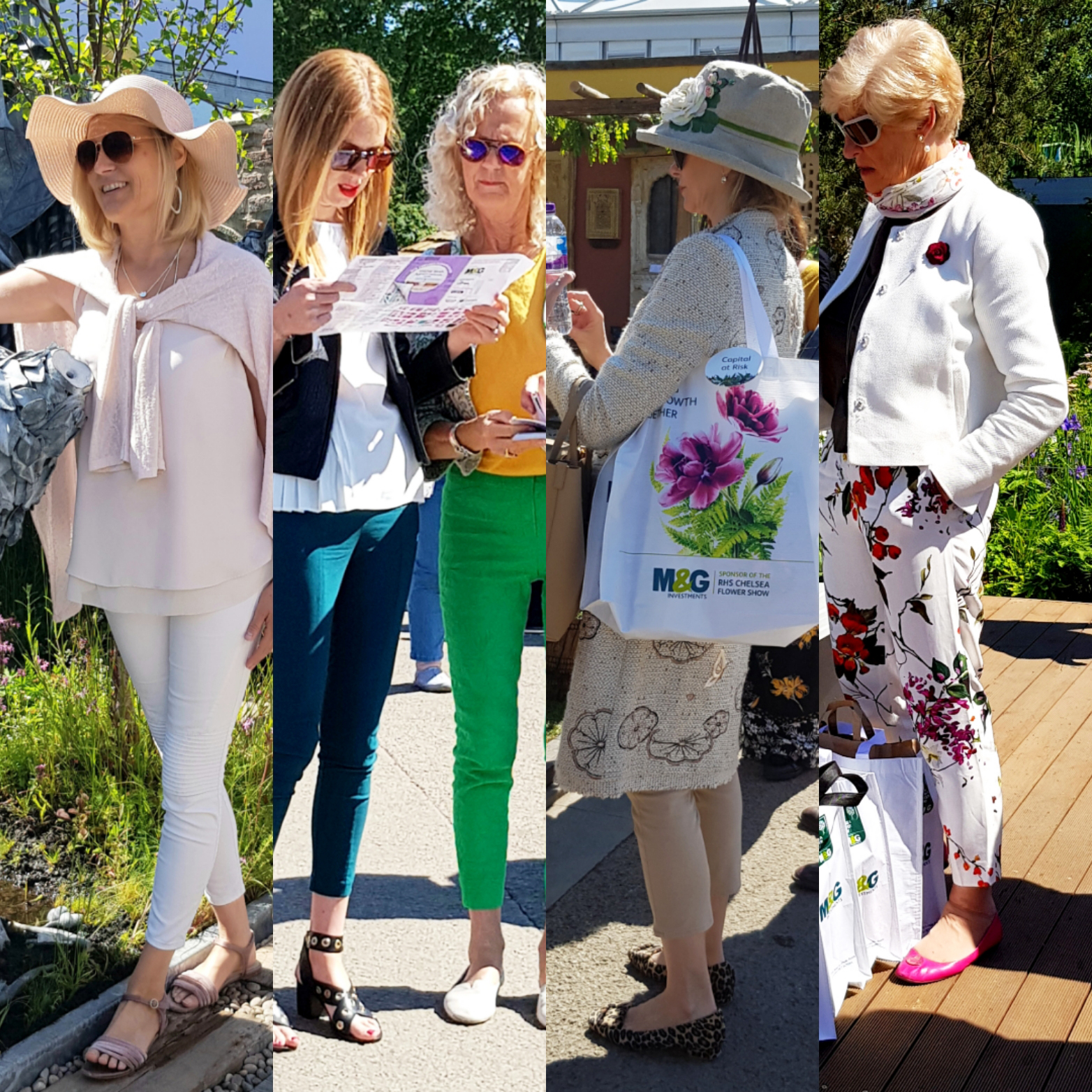 Selection of fashionistas at the Chelsea Flower Show 2019