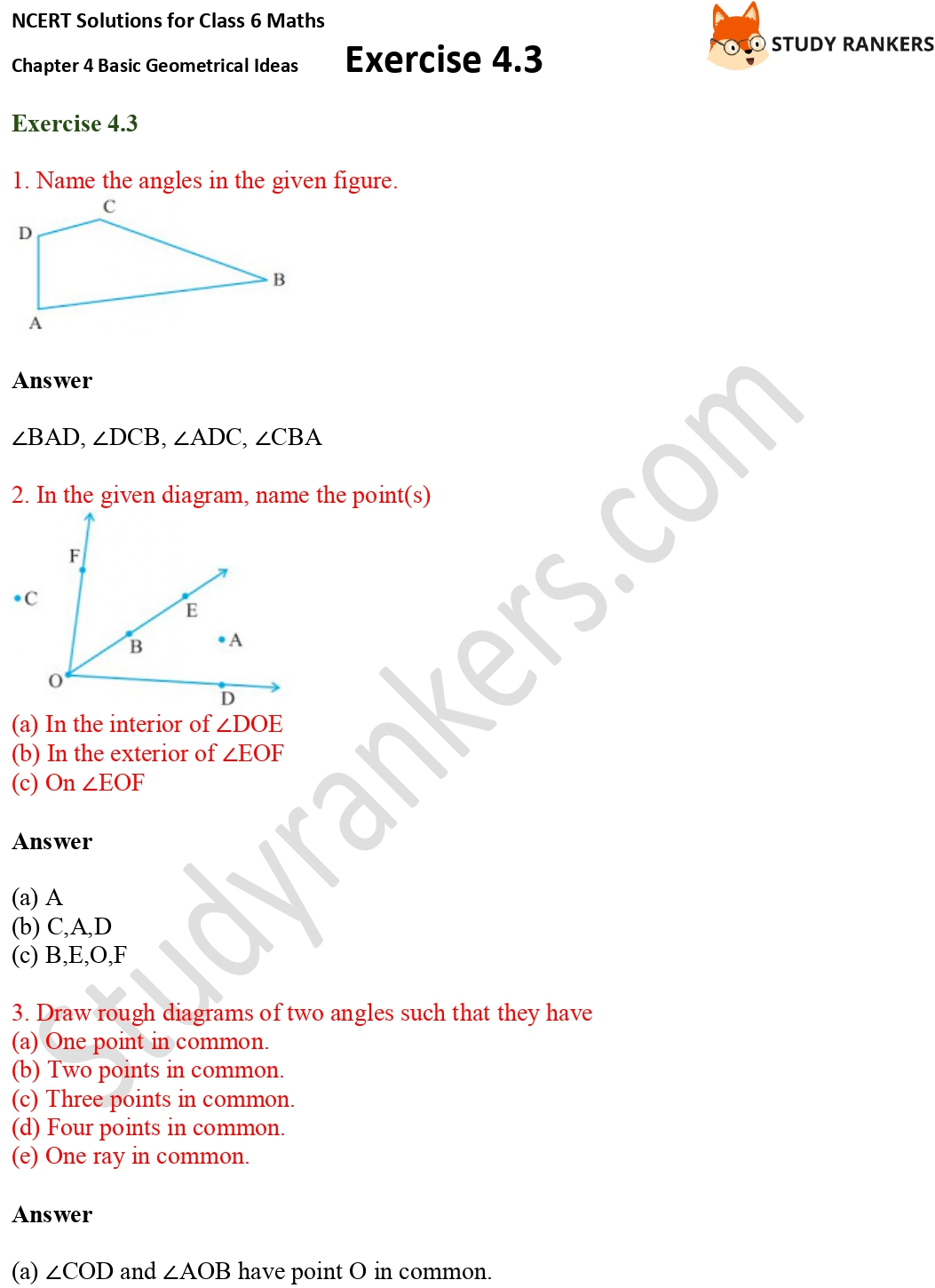NCERT Solutions for Class 6 Maths Chapter 4 Basic Geometrical Ideas Exercise 4.3 Part 1