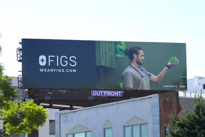FIGS scrubs Andrew K DVM billboard