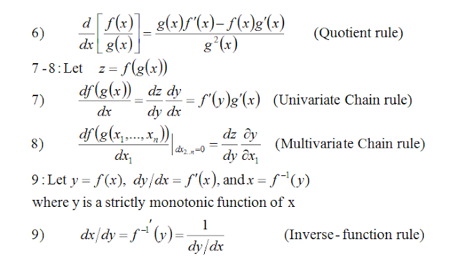 Rules of Differentiation,Partial Differentiation,Jacobian Determinants,Second and Higher Derivatives,Strict concavity and convexity,Taylor series of a polynomial functions,