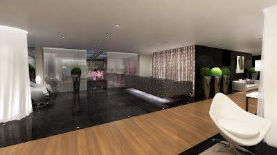 Perspective 3d réception hôtel de luxe