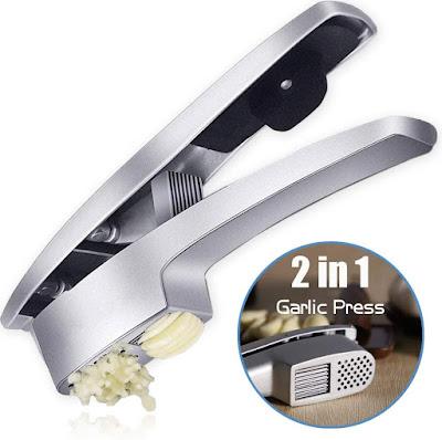 Garlic press crushing and slice