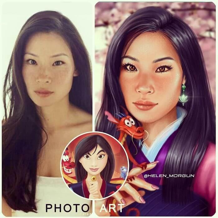 12-Lucy-Liu-As-Mulan-Helen-Morgun-Celebrities-and-Disney-www-designstack-co