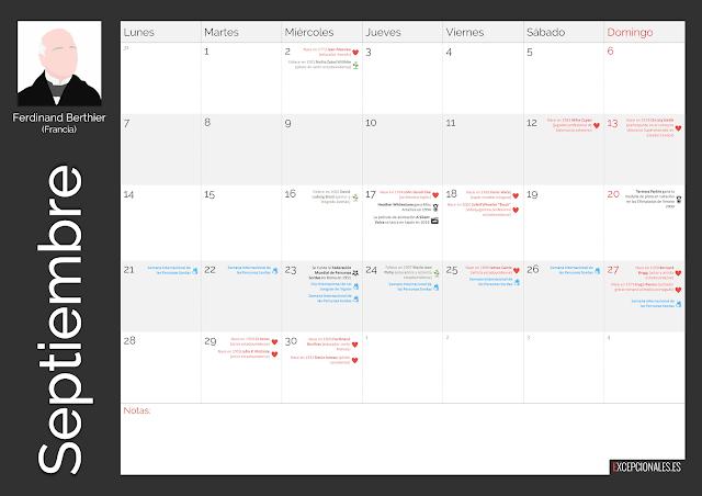Calendario Excepcionales Septiembre 2020