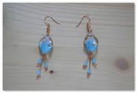 boucles d'oreilles cuivrées et bleu clair