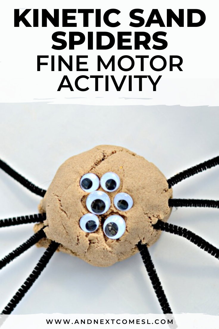 Need spider activities for toddlers and preschool kids? Then you need to try this spider themed fine motor kinetic sand activity!
