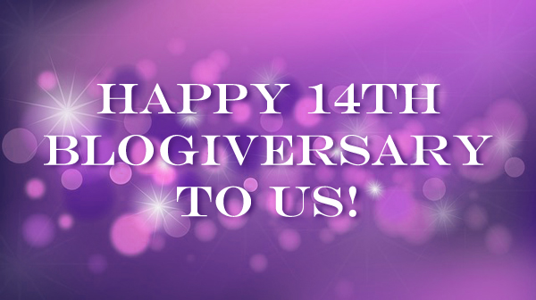 abstract purple party background to which I've added text reading: Happy 14th Blogiversary to Us!
