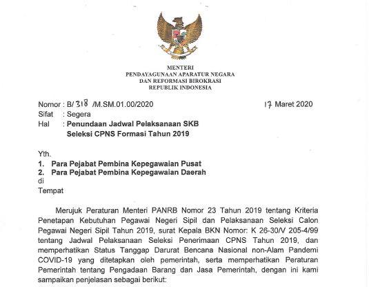 Tindak Lanjut Pencegahan Covid-19, Pelaksanaan SKB CPNS 2019 Ditunda