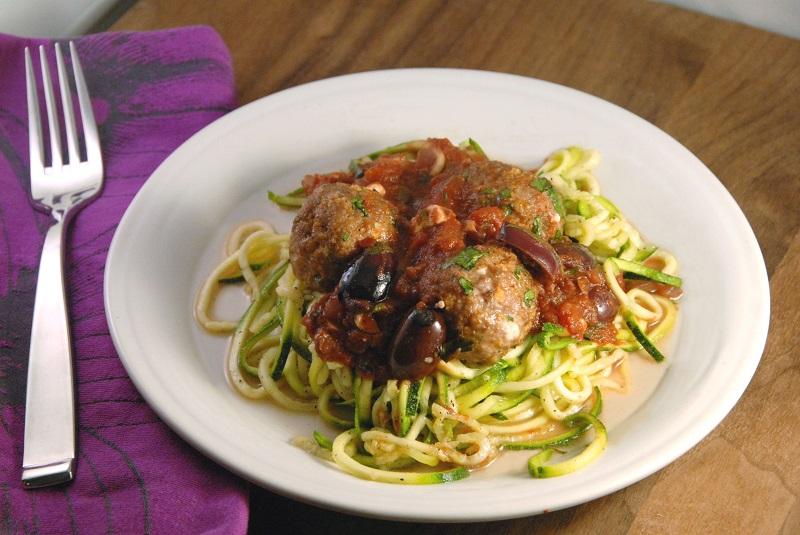 greek zucchini noodles feta stuffed lamb meatballs pinot marinara