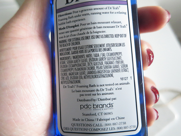 Dr. Teal's Epsom Foaming Bath In Lavender ingredients