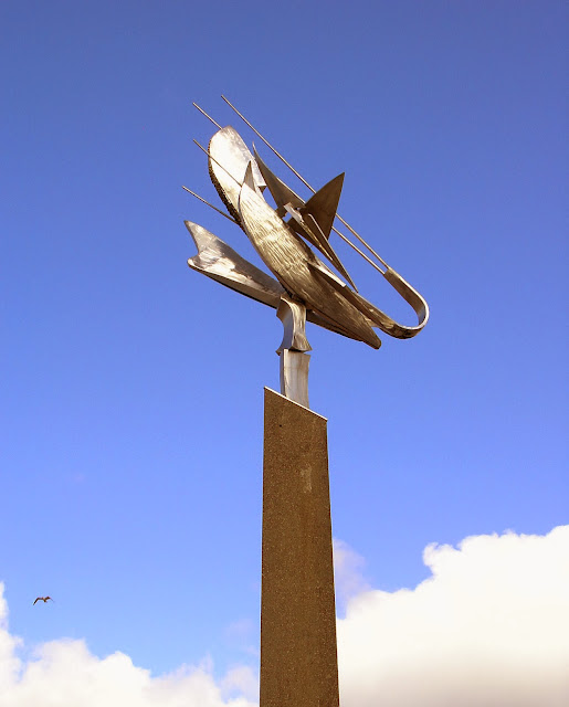 This sculpture entitled 'Shrimp' commemorates sailors lost at sea.