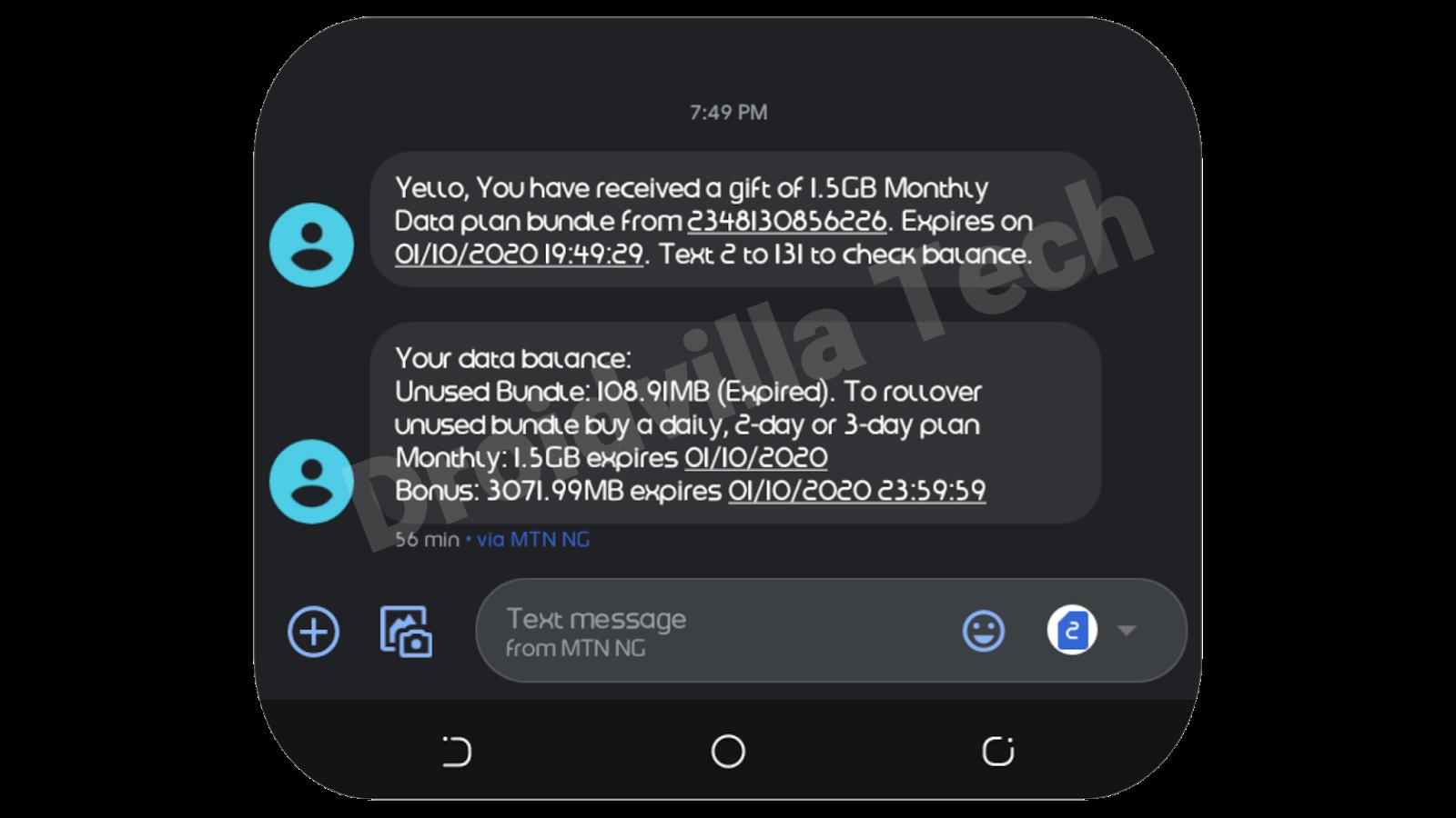Mtn 4.5gb data for N1000