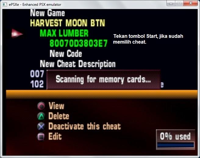 Cara mudah menambahkan cheat baru game PSX di Emulator PSX.