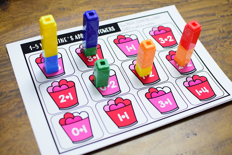 Valentine's Day-Themed Math Resource: Addition Towers