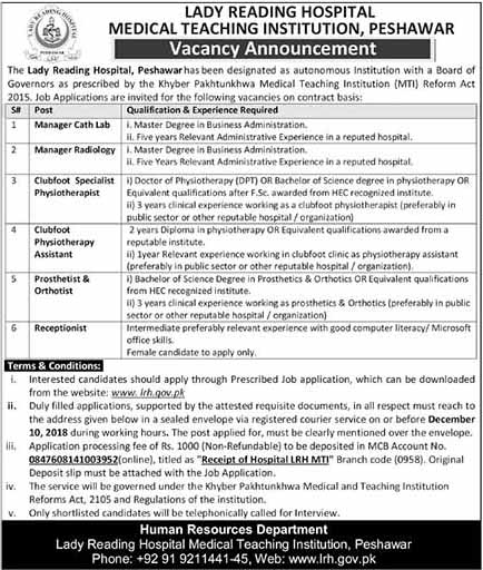 New Vacancies in Lady Reading Hospital Peshawar