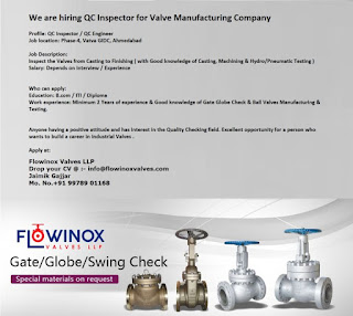 ITI / Diploma/ B.com Jobs Vacancy For Position QC Inspector forFlowinox Valves LLP, Valve Manufacturing Company