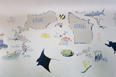 Photo of a map of the dive sites around Koh Lipe