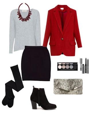 Look para sair com saia de malha preta, botins pretos de salto médio, collants pretos, clutch padrão cobra, camisola cinza com colar bordeaux e casaco vermelho