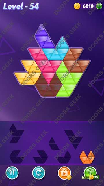 Block! Triangle Puzzle 7 Mania Level 54 Solution, Cheats, Walkthrough for Android, iPhone, iPad and iPod