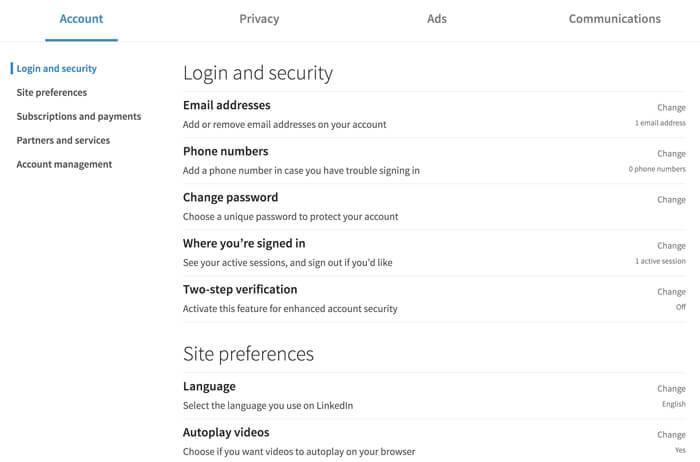 لقطة شاشة لصفحة إعدادات حساب LinkedIn